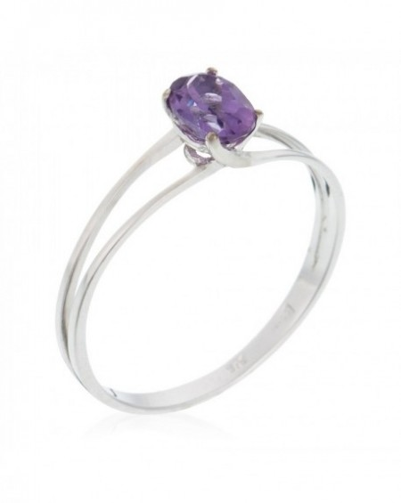 "Bague ""Prune Double Solitaire"" Or Blanc 375/1000"