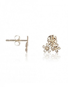 """Boucles d'oreilles """"Minis Fleurs"""" Or Jaune 375/1000 et Zirconium"""