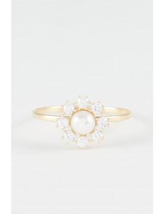 """Boucles d'oreilles """"Minis Fleurs"""" Or Blanc, Jaune et Rose 375/1000 et Zirconium"""