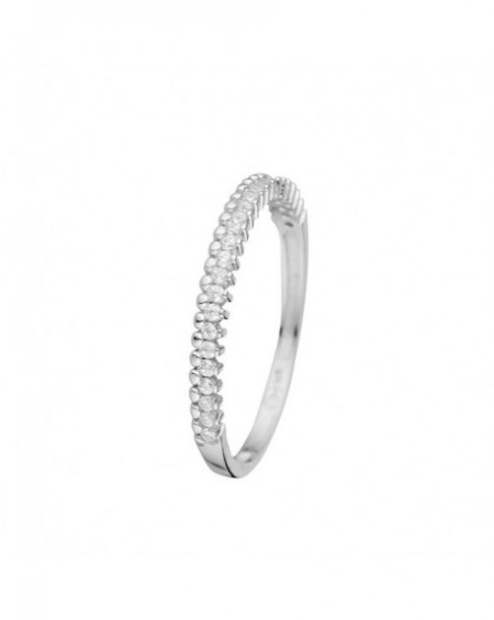 Bague Alliance Or Blanc 375/1000 Zirconium