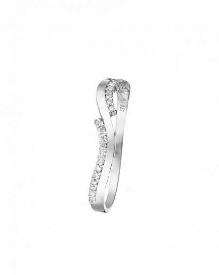 Bague Alternance Or Blanc 375/1000 Zirconium