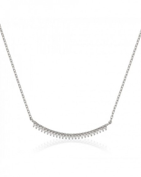 Collier barette Or Blanc 375/1000 Zirconium