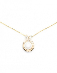 Pendentif Bonheur Perle Blanche Or Jaune 375/1000 Perle et Zirconium