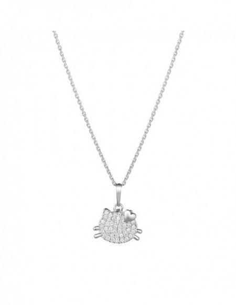 Pendentif Chaton Et Coeur Or Blanc 375/1000 Zirconium