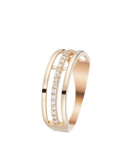 Bague Aurore Or Rose 375/1000 Zirconium