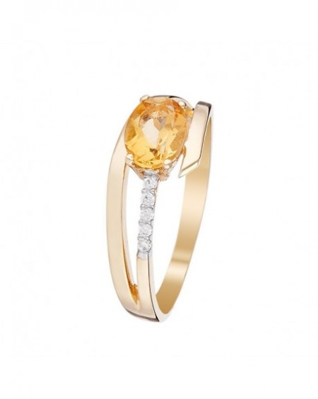 Bague Or Jaune 375/1000 Citrine